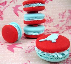 Red and blue macarons