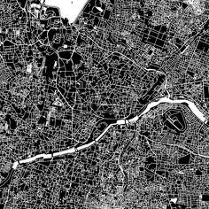 Hyderabad, India, downtown vector map.  Art print pattern. White streets, railways and water on black. Bigger bridges with outlines. This map will sho... ... #map #downloadable #background #vector #design