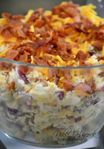 Loaded Baked Potato Salad: 8 med. russet potatoes, 1 c sour cream, 1/2 c mayo, 1 small chopped onion, chives to taste, 1-1/2 c shredded cheddar, S & P, to taste, top with 1 lb. crumbled bacon