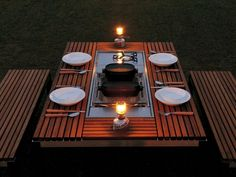 The Itauba table (pictured below) is an all-in-one outdoor kitchen solution. An unlikely design from outdoor gear manufacturer Snowpeak, thi. Adirondack Furniture, Dining Furniture, Garden Furniture, Garden Table, Patio Table, Picnic Table, Dining Table, Outdoor Dining Set, Outdoor Decor