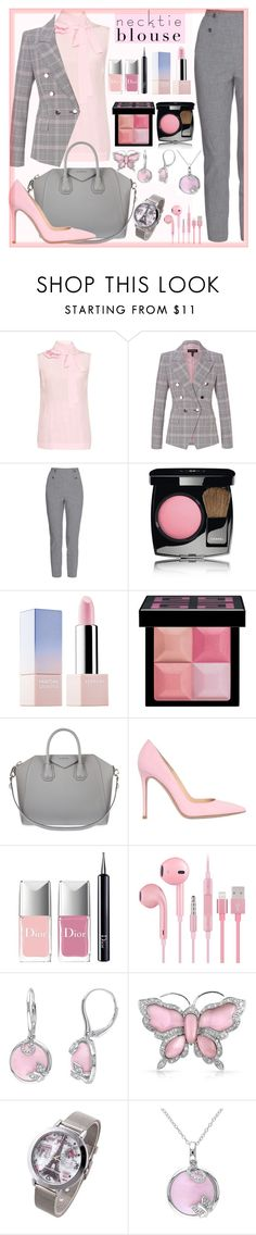 """""""necktie blouse"""" by teto000 ❤ liked on Polyvore featuring Rochas, ESCADA, TIBI, Chanel, Sephora Collection, Givenchy, Gianvito Rossi, Christian Dior, Bling Jewelry and falltrend"""