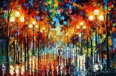 Lluvia de colores: Pintada por Leonid Afremov, pintor bielorruso,la mayoria de sus pinturas generalmente son paisajes, flores, retratos y escenas urbanas con colores muy vivos.