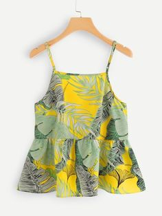 Color: MulticolorFabric: Fabric has no stretchFit Type: Regular FitLength: RegularComposition: PolyesterNeckline: Spaghetti StrapPattern Type: TropicalSeason: SummerStyle: BohoType: Cami, Peplum Smock Dress, Tee Dress, Belted Dress, Panel Dress, Cami Tops, Simple Outfits, Ladies Dress Design, Fit Flare Dress, Look Fashion