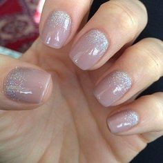 Foxy Nude Nails With Silver Glitters