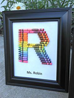 Homemade teacher gifts - How to make a crayon monogram