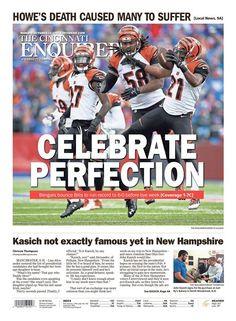 """Celebrate Perfection"" Cincinnati Enquirer A1 designed by Kayla Golliher. (10.19.15) #newsdesign"