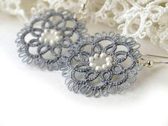 Tatted lace earrings grey tatting antiallergic ear by LaceLadyOla, $22.00