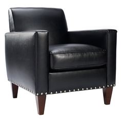 Have to have it. Homeware Leah Leather Club Chair - Black - $541 @hayneedle