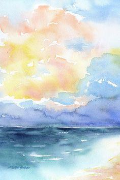 Oceano dipinto ad acquerello 4 x 6 Giclee Print di SusanWindsor