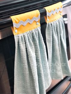 Hanging Oven Towels Aqua and Yellow Kitchen Towel Dish Towel Crafts, Dish Towels, Christmas Sewing, Aqua Christmas, Crochet Towel, Kitchen Hand Towels, Hanging Towels, Blue Towels, Decorative Towels