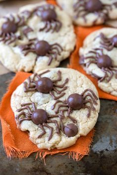 Fun spider cookies made with whoppers! Perfect Halloween treat and you can use any cookie dough you want