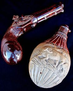 2 spirit flasks .One the shape of a powder flask by Thomas Smith of Lambeth Pottery c. 1840