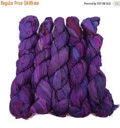 SALE Recycled Sari Silk Ribbon 100g skeins  Purple by SilkDivine