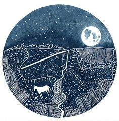 Dreamy lino cut from another British printmaker,  A Deegan.  Etsy profile says she's an archaeologist by day. Cool!