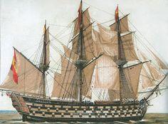 Spanish Ship = Battle of Trafalgar - engraving of the Santa Ana - Navío santa ana de 112 cañones. Capital Ship, Ocean At Night, Spanish Armada, Ship Drawing, Ship Of The Line, Ship Paintings, Man Of War, Vintage Boats, Hale Navy