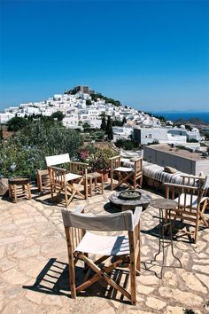 Veranda with a beautiful view ~ Patmos, Greece