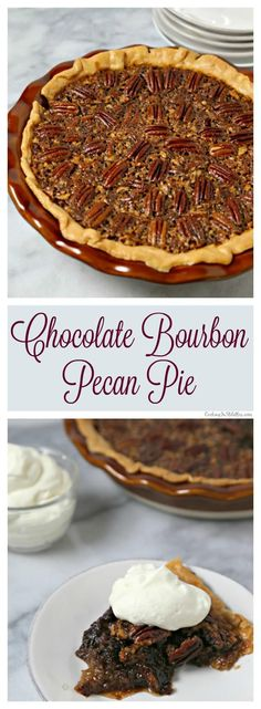 Chocolate Bourbon Pecan Pie from CookingInStilettos.com is a delicious dessert for your holiday table. Dark chocolate melds with sugar, pecans and a hint of bourbon - what's not to love? #BloggerCLUE ~ http://cookinginstilettos.com