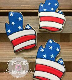 Michigan Stars and Stripes sugar cookies