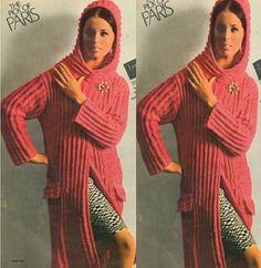 Vintage 60s Knitted Hooded Coat Pattern Knit Jacket Pattern Coat Patterns 5e10d4cf6