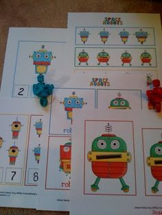 Robots preschool unit (lots of preschool printables on this site)