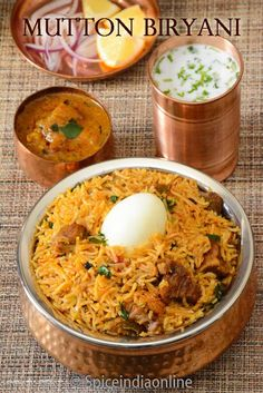 Mutton Biryani - How to make Mutton Biryani in a pressure cooker - Pressure Cooker Mutton Biryani - Homestyle Mutton Biryani - is one popular rice dish from Indian sub continent . Veg Recipes, Curry Recipes, Indian Food Recipes, Chicken Recipes, Cooking Recipes, Ethnic Recipes, Cooking Tips, Cooking Food, Recipies