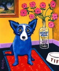 Absolut Rodrigue, 1993 painting by George Rodrigue.  I'm a huge fan of the Blue Dog, a New Orleans icon and of his creator, George Rodrigue.