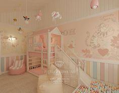 Фото интерьера детской в оттенках розового и бежевого http://www.line-mg.ru/igrovye-zony-v-detskih-komnatah