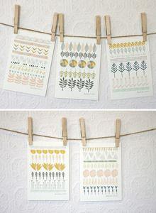 """Image of Lot de 5 cartes """"Cercles, Lignes et Formes"""" Leah Duncan"""