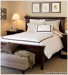Pottery Barn bedroom - like the bed and above the bed