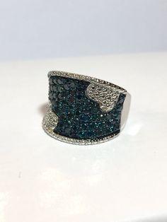 Blue Diamond Sterling Silver Ring Art Deco by AntiqueJewelryForFun