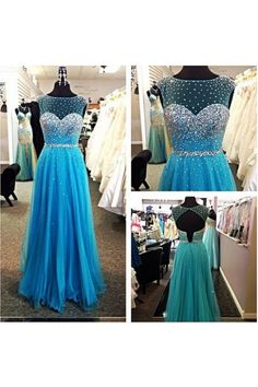 Blue A-line Beaded Organza Formal Evening Dress,Chiffon Prom Dresses,Beading Prom Gown,Backless Homecoming Dresses,Prom Dresses