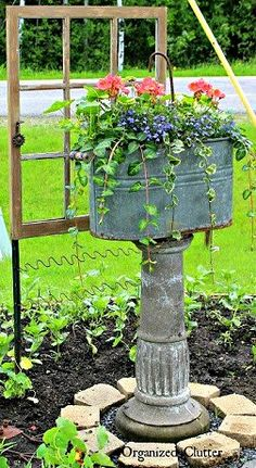 how to add vertical interest to your flower beds containers, container gardening, flowers, gardening Garden Junk, Garden Planters, Terrace Garden, Potager Garden, Garden Whimsy, Garden Crafts, Garden Projects, Garden Ideas, Container Plants