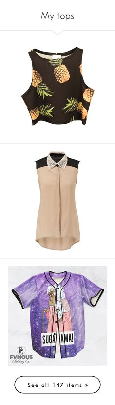 """""""My tops"""" by bubbles-are-my-friend ❤ liked on Polyvore featuring tops, shirts, crop tops, chicnova, sleeveless shirts, pineapple top, brown sleeveless top, crop top, sleeve less shirts en blouses"""