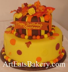 Custom creative unique orange, yellow and brown fondant leaves and roses fall birthday cake, via Flickr.