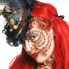 Womens steampunk half face mask Masquerade by gringrimaceandsqueak