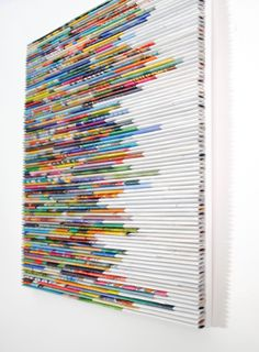COLORFUL bright wall art made from recycled magazines 10 inches square modern unique art stripes of color lines contemporary design Papier Recycled Magazine Crafts, Recycled Magazines, Old Magazines, Rolled Magazine Art, Murs Clairs, Recycled Art Projects, Unique Art Projects, Recycled Crafts, Recycled Jewelry