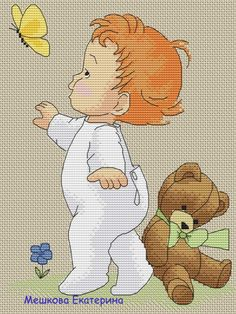 Baby butterfly and Teddy Cute Cross Stitch, Cross Stitch Borders, Cross Stitching, Cross Stitch Embroidery, Cross Stitch Patterns, Kids Patterns, Crochet For Kids, Fabric Crafts, Babies