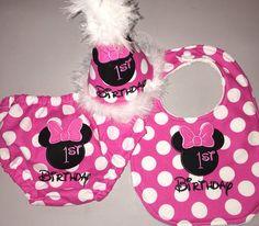 Minnie Mouse Birthday Bib / Cake Smash / Party by SlickandBoogers