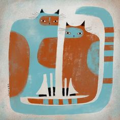 terrenonussbukorrek (terryrunyanillustration: Two cats waiting. ➕...)