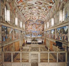 CAPELA SISTINA, VATICANO.Visão geral do interior da capela Sistina, cujo teto foi pintado por Michelangelo. Na parede do fundo, atrás do altar, o afresco 'O Juízo Final', de Michelangelo. O interior da Capela Sistina tem 41 metros de comprimento, 13 de largura e 21 de altura.