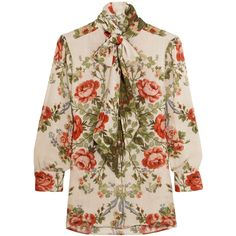 Gucci for NET-A-PORTER Pussy-bow floral-print silk blouse (4.415 RON) ❤ liked on Polyvore featuring tops, blouses, gucci, flower print blouse, floral print blouse, bow collar blouse, brown silk blouse and silk blouses
