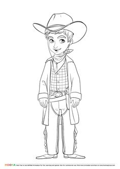 #Free #Printable Coloring Pages for toddlers and preschoolers: #cowboy. Click through to customize and download free color pages for kids as a FREE PDF   http://www.moonagroup.com