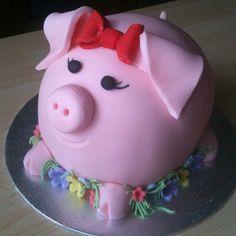 Piggy cake Fun Cupcakes, Cupcake Party, Cupcake Cakes, Pig Party, Pretty Cakes, Cute Cakes, Beautiful Cakes, Piggy Cake, Pig Birthday Cakes