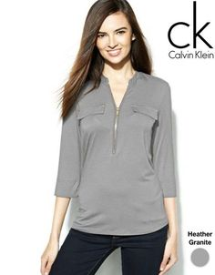 Roll-Tab-Sleeve Zip-Front Top by Calvin Klein