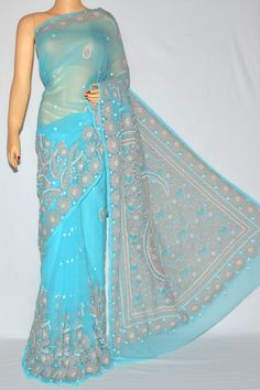 Blue Color Hand Embroidered Lucknowi Chikankari Saree (With Blouse - Georgette) MC250090