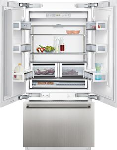 Siemens Integrated American-Style Fridge Freezer, A+ Energy Rating, Wide, Stainless Steel at John Lewis & Partners Built In Fridge Freezer, Freezer Storage, Refrigerator Freezer, French Door Refrigerator, American Fridge Freezers, American Style Fridge Freezer, Fridge Shelves, Glass Shelves, Integrated Fridge