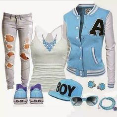 Blue and converse Cute Summer Outfits, Stylish Outfits, Fall Outfits, Cute Outfits, Crop Top Outfits, Outfits With Converse, Boy Fashion, Fashion Outfits, Womens Fashion