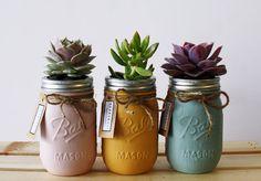 Il sagit dune collection assortie de succulentes pots (rose, orange, oeuf de canard). Créé grâce à plusieurs séries de remodelage et de peinture. .