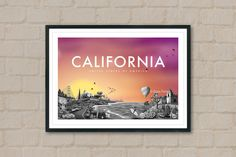 CALIFORNIA - Travel Poster - California Poster - City Poster - City Sunset - Travel Art - Hollywood - Route 66 - Home Decor - Wall Art - Art by ArtyPrintsBoutique on Etsy