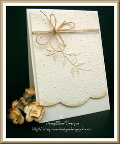 handmade greeting card ... white with inking and twine in krat ... die cut leafy branch ... embossed random dots ... large scallop edge ... sweet and simple design ...